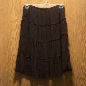 Brown knee length skirt, sequin detail